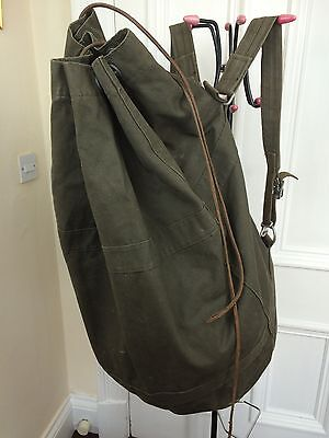 Vintage Military Rucksack Backpack Large Green Canvas Swiss Medic Bag Leather
