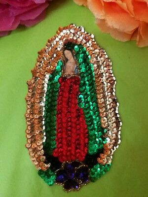 Authentic Mexican Sequinned Applique Patch Sm Virgin of Guadalupe w/ single rose
