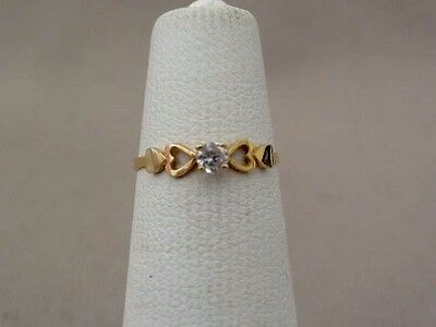 Sweet 14K GOLD & CZ Child's Heart Ring