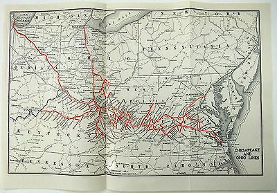 Original 1923 Map of the Chesapeake and Ohio Lines Railroad