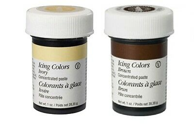 Wilton 2 Colour Icing Paste Gel for Cake Food Baking Decoration Ivory/Brown