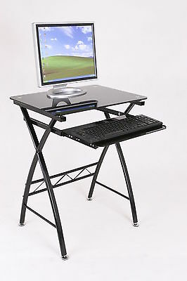 Work Station Computer Desk With Sliding Keyboard Table Black Glass Top Furniture