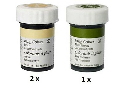 Wilton 2 x Ivory + 1 x Moss Green Colour Icing Paste Gel Cake Baking Decoration