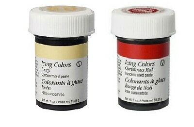Wilton 2 Colour Icing Paste Gel for Cake Baking Decoration Ivory/Christmas Red