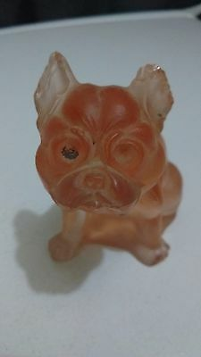 Pink Satin Glass Bull Dog Figurine / Paperweight Westmoreland?