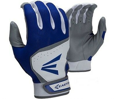 New Easton HS7 Hyperskin Adult Baseball Pair Pack Batting Gloves White/Blue S-XL