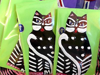 Authentic Mexican Tin Folk Art  Handcut & Painted Black & White Cat