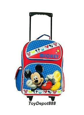 "New Arrival Disney Mickey Mouse Kids 16"" Large Rolling Backpack"