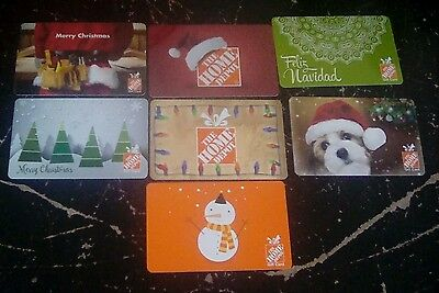 The Home Depot Seven Gift Cards 2016 Holiday, Christmas,  Collectible  Mint