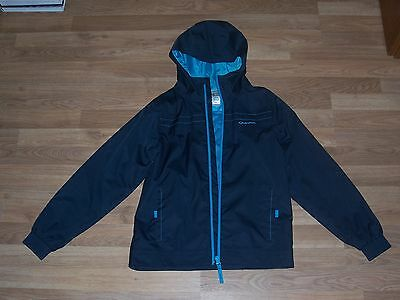 boys Quechua hooded light weight jacket navy 100% waterproof age 12 years