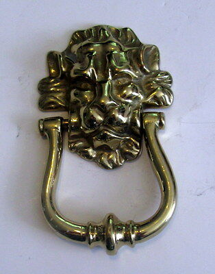 "Vintage Solid Brass Lion Head Door Knocker 6"" x 4"" Heavy"