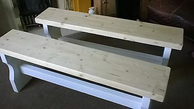 2 x 4ft Shabby Chic Benches rustic style kitchen hallway conservatory porch
