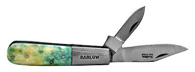 Barlow Two Blade Pocket Knife Green Bone Handle NEW Barlow-K-GBN