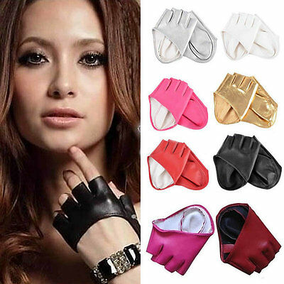 Faux Leather Fingerless Gloves- Womens Ladies Fancy Dress Style Party Accessory