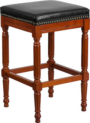 30'' High Backless Light Cherry-Wood Barstool With Black Leather Seat