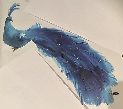 "2 New Stunning 10"" Dk Blue Bird / Peacocks Christmas Decorations Clip On"