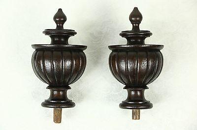 Pair Large Carved Oak Finials, 1890 Architectural Salvage Fragments