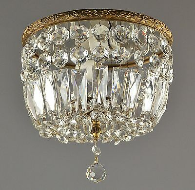 Flush Mount Crystal Italian Chandelier c1950 Vintage Antique French Style