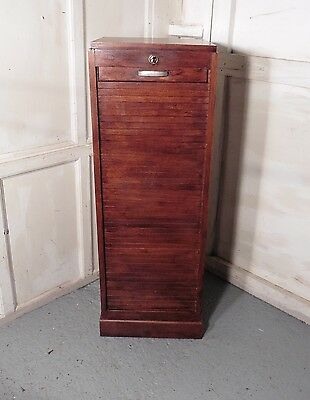 French Tambour Oak Art Deco Filing Cabinet