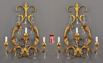 LARGE Gilded Tole French Crystal Wall Sconces c1950 Vintage Antique French Ornat