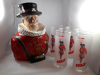 1960's Beefeater Gin composition bust Ice Bucket with 5 drinking glasses