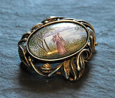 Vintage Russian Sterling Silver Finift Enamel Scenic Courtship Brooch Signed