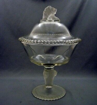 """EAPG Frosted Lion 9"""" Compote Gillinder & Son Early American Pressed Glass Copy"""
