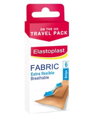 ELASTOPLAST On The Go Travel Pack Extra Flexible Fabric Plasters 6 Strips Breath