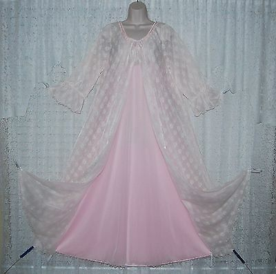 Vtg Pink INTIME 4 Layer Chiffon Peignoir Robe Nightgown Negligee Gown SET S