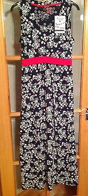 Frugi breastfeeding nursing dress SZ L 14-16 Navy Floral leaf holiday Maxi BNWT