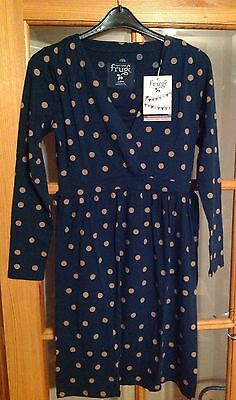 Frugi breastfeeding nursing dress SZ M 12-14 cornish dot spot navy Print BNWT