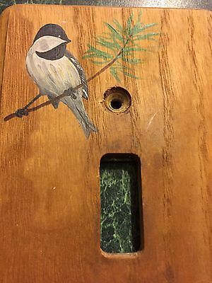 Vintage Hand painted Wood Switch Plate Cover Light Switch Cover Chickadee Bird