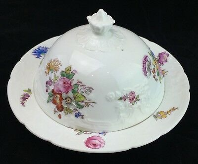 Coalport Sevres Muffin Covered Dish Lid Embossed Floral Flowers Bone China
