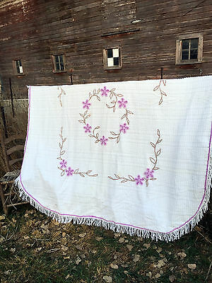Vintage White Chenille Bedspread with Lavender Purple Flowers Fringe 98x86""