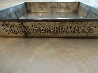 VTG Hetty Harper Mixes square baking tin from the 1930's, unusual advertising