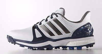 New Adidas Men's Adipower Boost 2 Spiked Golf Shoes - Q44661 White/Blue