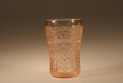 Vintage Deco Federal Glass Pink Patrician Spoke Water Tumbler c.1935