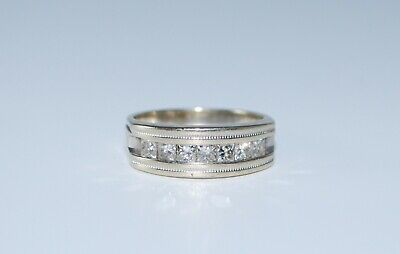 Vintage Solid 14K White Gold Ring w/ 1CT Channel Set Diamonds - Size 9.75 -