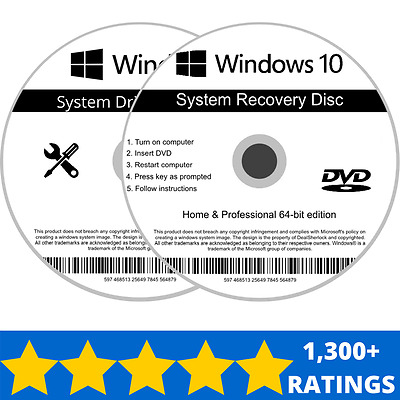Windows 10 Home & Professional 64 bit Recovery Repair Install Boot Disc Software