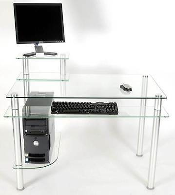 Glass & Metal Computer Desk with Monitor Pedestal [ID 2022]
