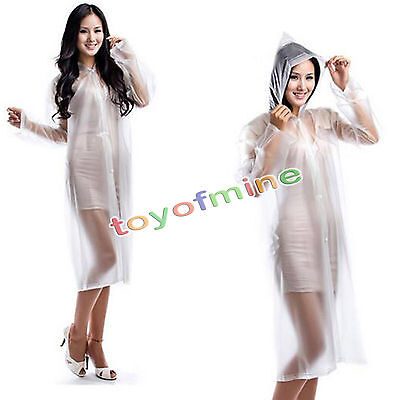 White PVC Raincoat Clear Fashion Rain Coat For Concert Outdoor Sport one size
