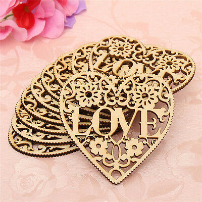 10pcs LOVE Heart Wooden Embellishments Crafts Christmas Tree Hanging Ornaments