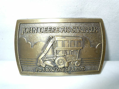 John Deere 740 Stripper Brass Belt Buckle   Mint Condition