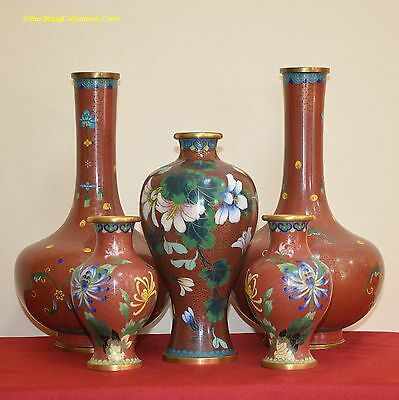 Small Collection of Chinese Coral Red Ground Cloisonne Vases Circa 1970s - 1980s