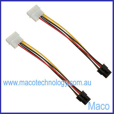 2 Pack 4 Pin Molex Cable to 6 Pin Male PCI Express Video Card Power CableAdapter