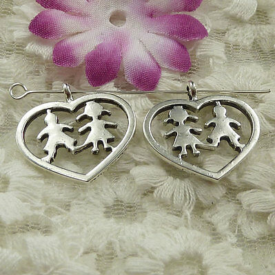 Free Ship 150 pieces Antique silver boy girl charms 22x22mm #4586