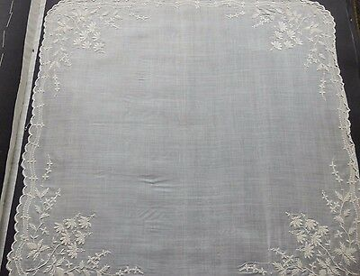 Antique Linen Hand  Embroidered Museum Handkerchief Scallop Border Collectible