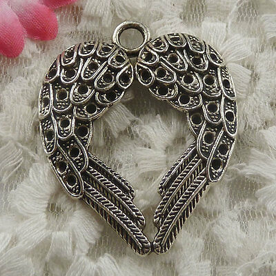 free ship 9 pieces Antique silver wing heart pendant 46x37mm #4363