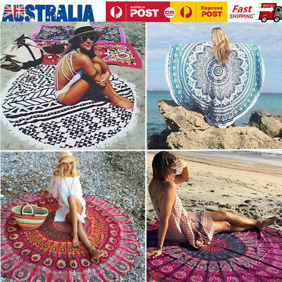 Large Beach Towel Round Picnic Blanket Bedspread Table Cover Bohemian Yoga Mat