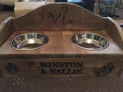 cat feeder engraved personlised raised with splash back christmas gift